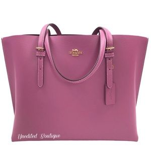 COACH Mollie Tote Handbag In Berry Leather